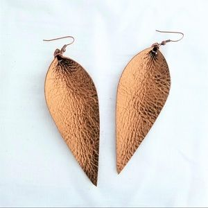 BRAND NEW Bronze Leather Leaf Earrings with Silver